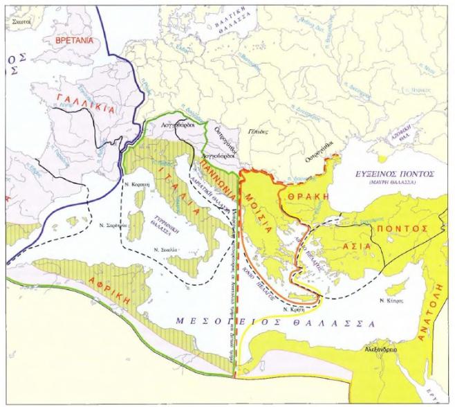 Χάρτης: Η διχοτόμηση του βυζαντινού κράτους, 395 μ.Χ.