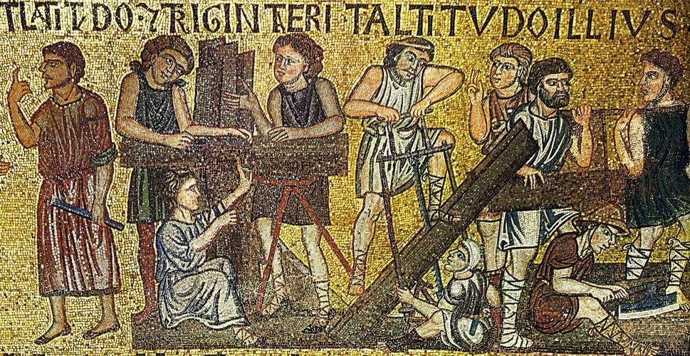Ξυλουργοί σε βυζαντινό ψηφιδωτό