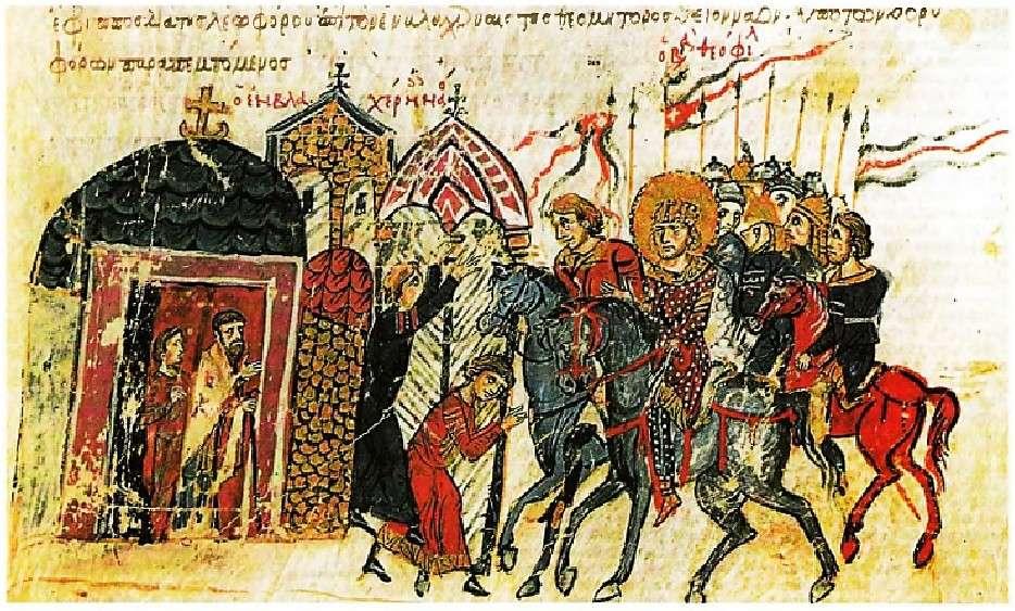 Η χήρα ενός στρατιώτη σταματά τον αυτοκράτορα Θεόφιλο και του φανερώνει την αδικία ενός στρατηγού απέναντι στον άνδρα της. Λεπτομέρεια από βυζαντινό χειρόγραφο.