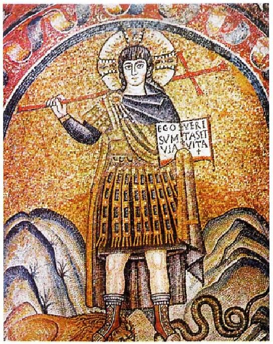 Χριστός-νικητής με στολή Ρωμαίου λεγεωνάριου, ψηφιδωτό του 5ου αιώνα.