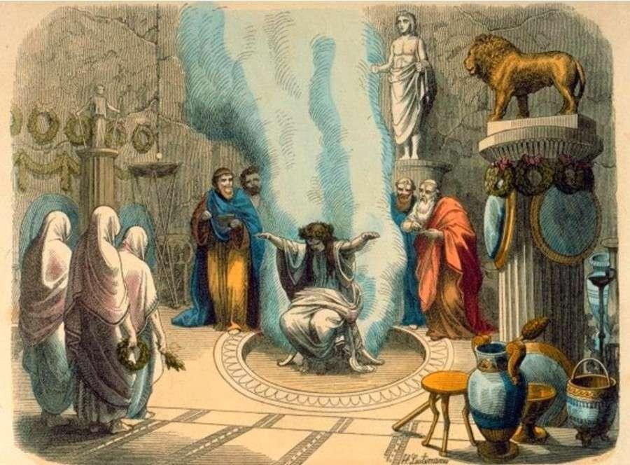 Έπειτα από όλα αυτά η Πυθία θυμιατιζόταν με φύλλα δάφνης και, πρόχειρα ντυμένη, έμπαινε στο ιερό του μαντείου, έπινε νερό από την Κασσότιδα πηγή, και με τη βοήθεια του προφήτη ανέβαινε και καθόταν στον τρίποδα που ήταν καλυμμένος από φύλλα δάφνης.