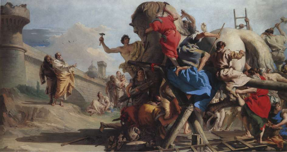 Δούρειος ίππος. Giovanni Domenico Tiepolo, «The Building of the Trojan Horse»
