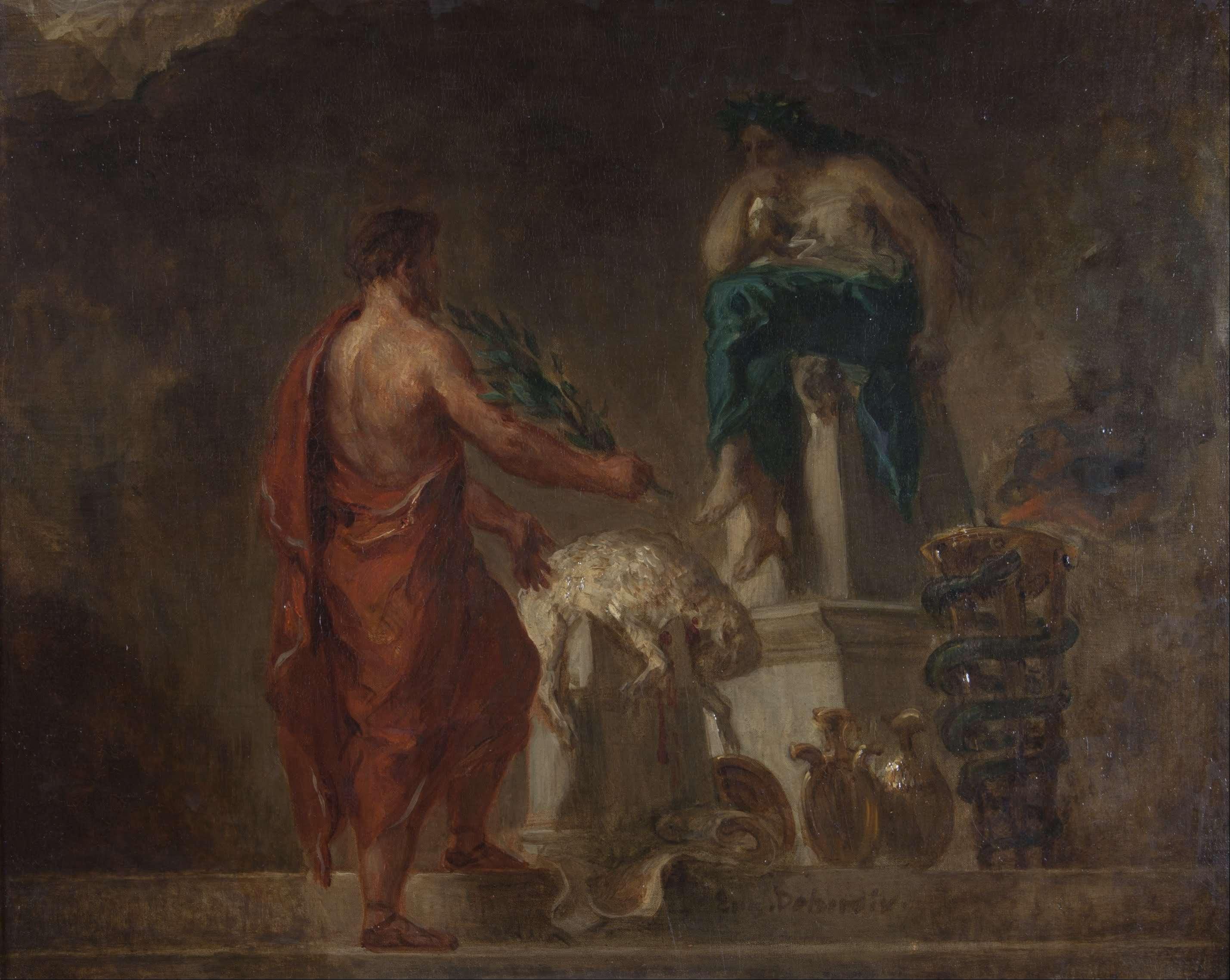 Ο Σπαρτιάτης νομοθέτης Λυκούργος ζητάει χρησμό από την Πυθία. Lycurgus Consulting the Pythia (1835/1845), as imagined by Eugène Delacroix.