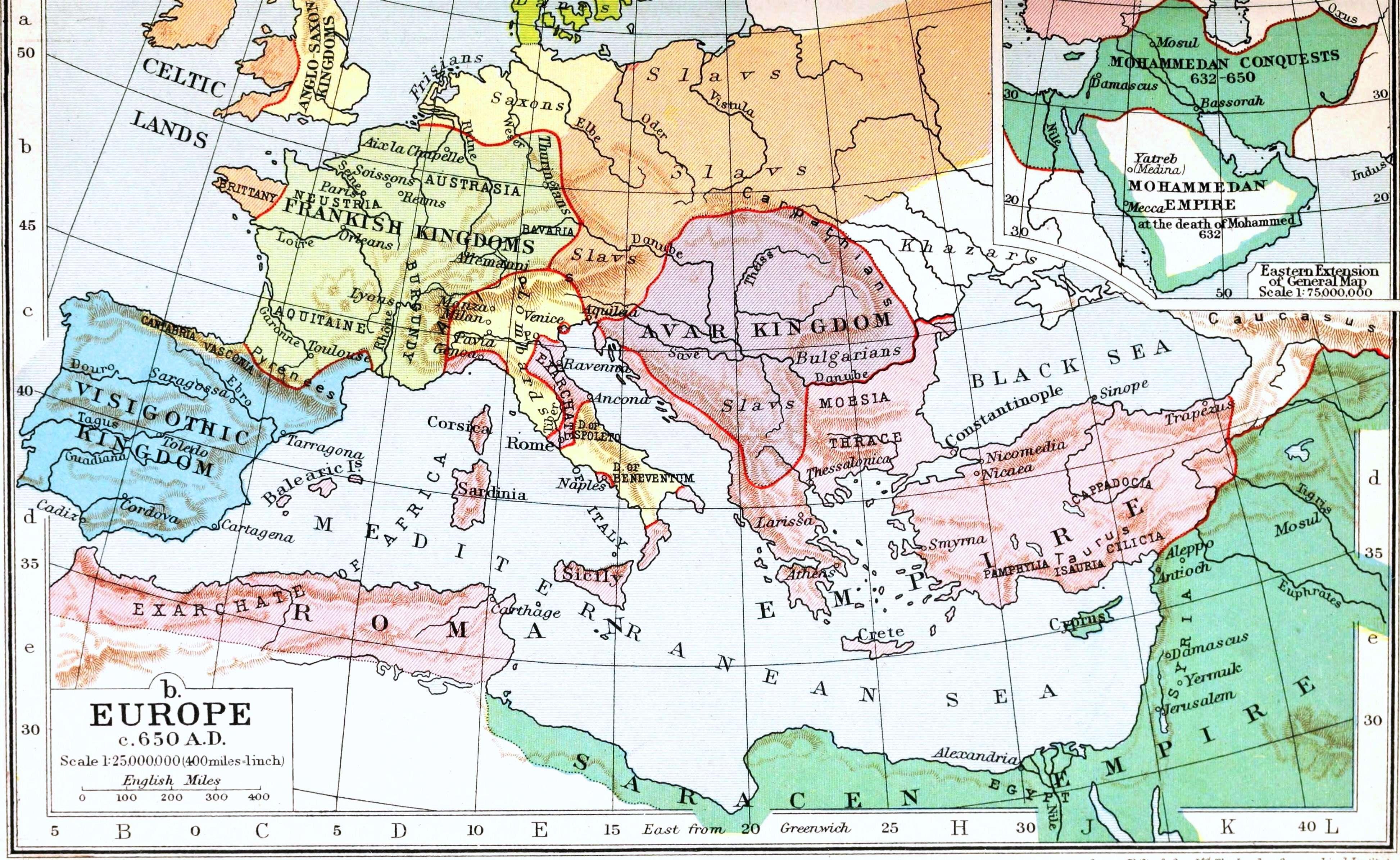 Χάρτης: Οι Σλάβοι στην Ευρώπη κατά το 650. Map: The Slavs in Europe in the 650s