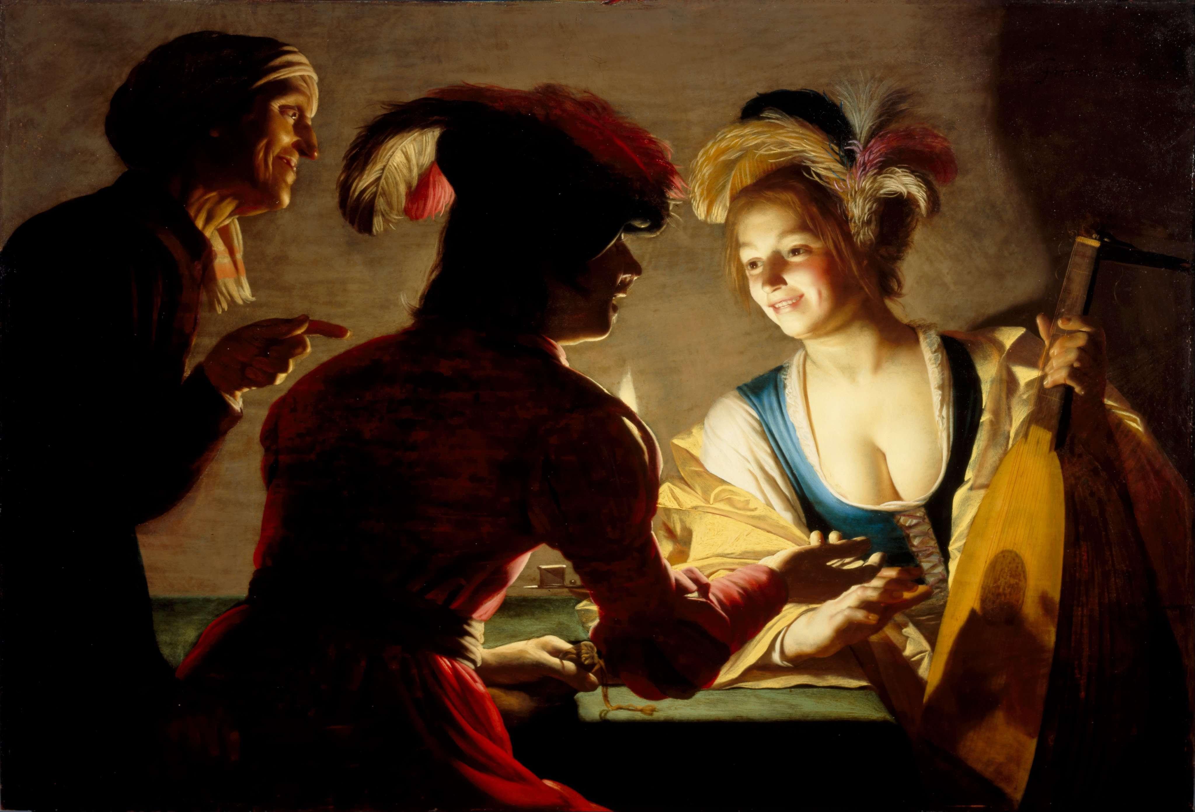 Η μαστροπός. Χέρριτ φαν Χόντχορστ (ολλανδικά: Gerrit van Honthorst, γνωστός και ως Gerard van Honthorst, 4 Νοεμβρίου 1592 - 27 Απριλίου 1656)