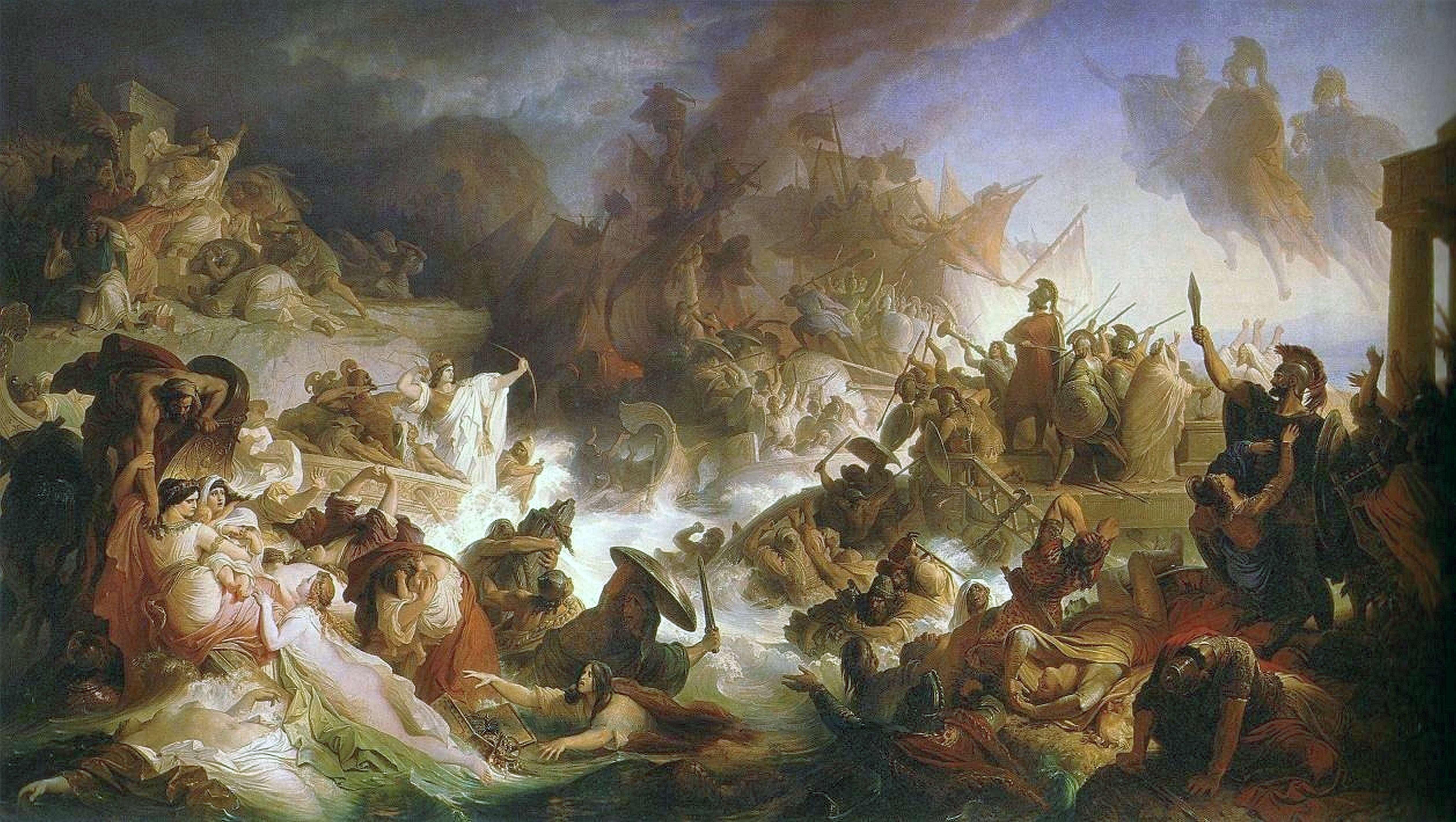 Η Ναυμαχία στη Σαλαμίνα (Die Seeschlacht bei Salamis), του Γερμανού Βίλχελμ φον Κάουλμπαχ.