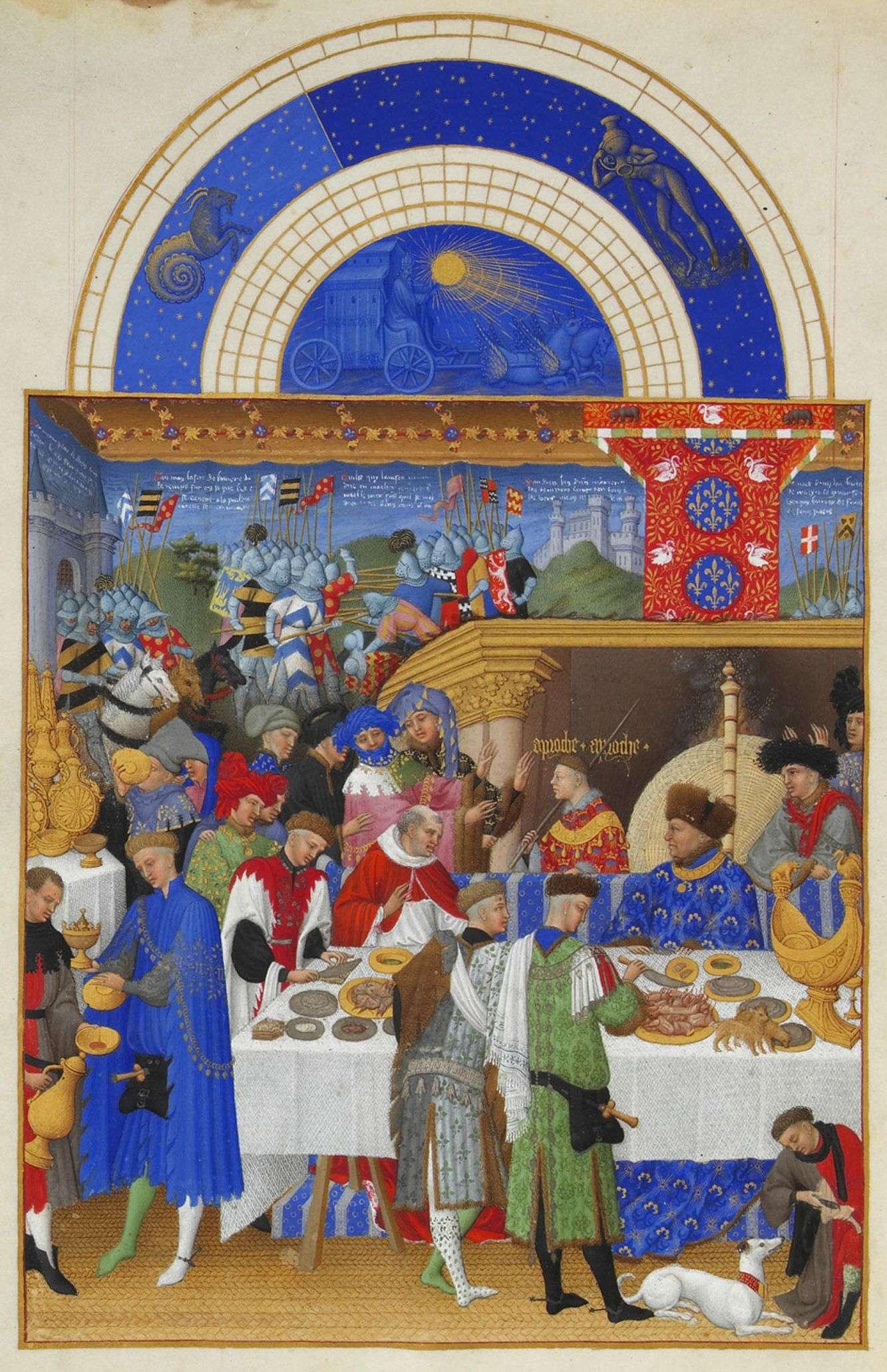 Αδελφοί Λίμπουρχ: Σελίδα από το ημερολόγιο του «Πολύ πλούσιου βιβλίου Ωρών του Δούκα του Μπερί», το διασημότερο και καλύτερα σωζόμενο δείγμα της γοτθικής παραγωγής εικονογραφημένων χειρογράφων (περ. 1415).