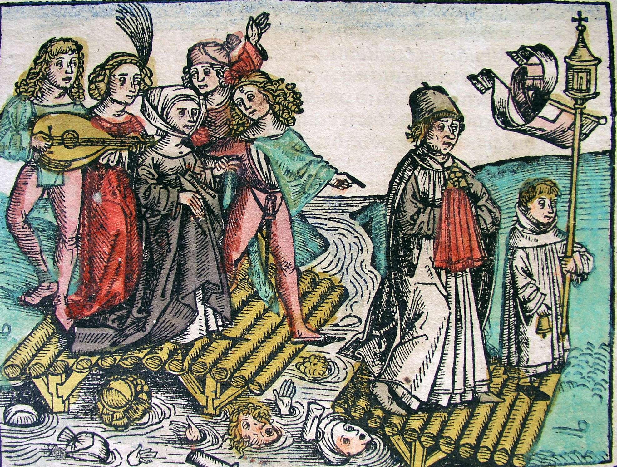 Το Χρονικό της Νυρεμβέργης (1493). Nuremberg chronicle- People Drowning (CCXVIIr)