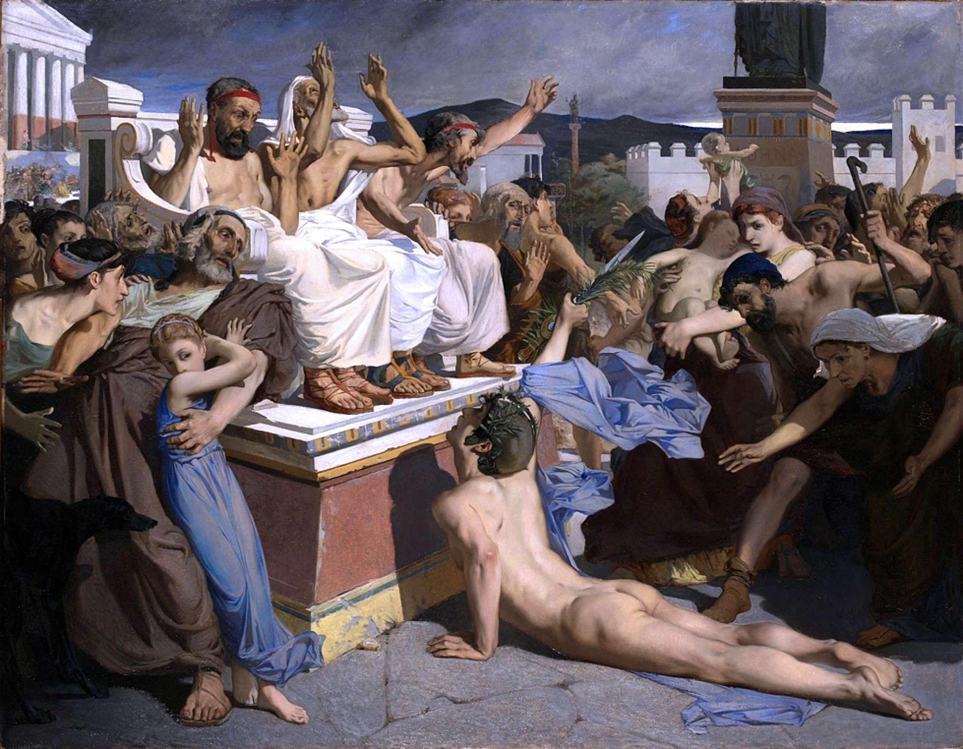 Ο Φειδιππίδης φέρνει την είδηση της νίκης των Ελλήνων στη μάχη του Μαραθώνα. Pheidippides giving word of victory after the Battle of Marathon.