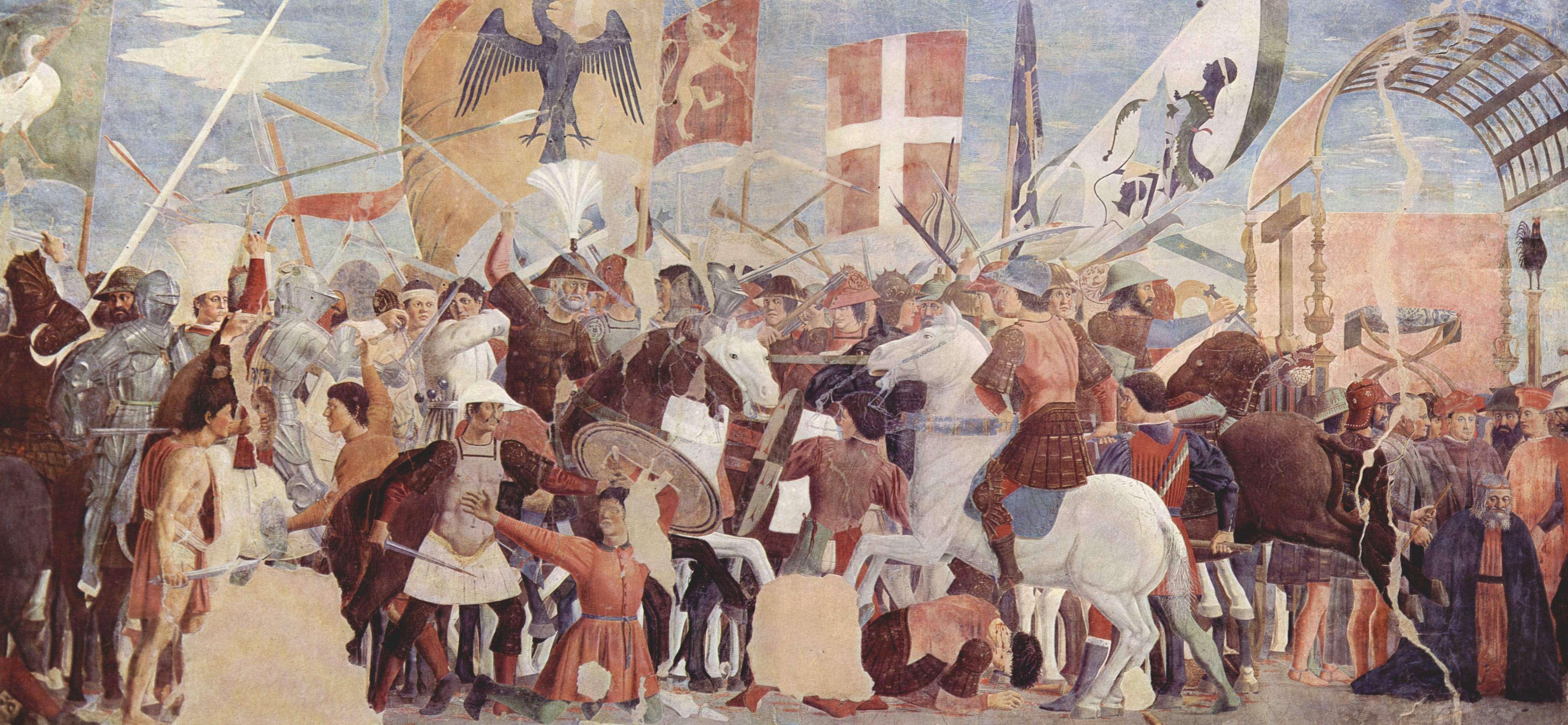 Μάχη μεταξύ του στρατού του Ηρακλείου και των Περσών υπό Khosrau II. Τοιχογραφία του Piero della Francesca, 1452