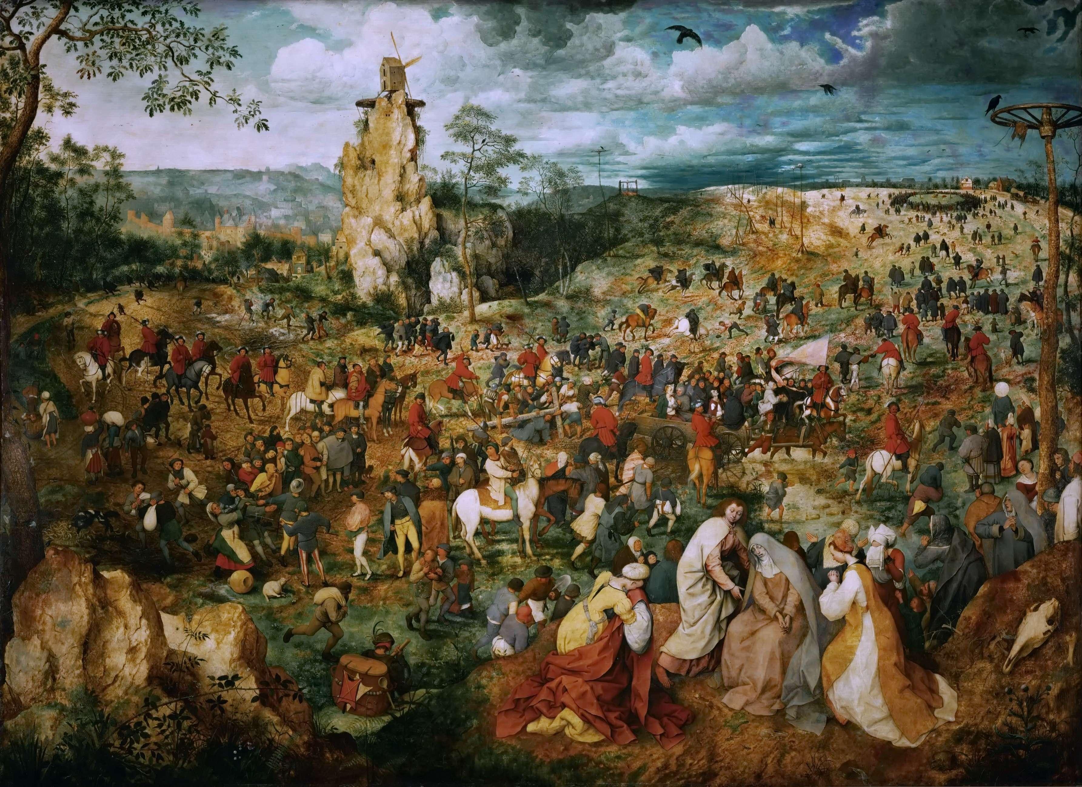 Η Πομπή στο Γολγοθά. Πίτερ Μπρίγκελ ή Μπρέγκελ ο πρεσβύτερος (φλαμανδικά: Pieter Bruegel, περ. 1525-1530 – Βρυξέλλες, 1569). The Procession to Calvary, 1564, Bruegel's second largest painting at 124 cm × 170 cm (49 in × 67 in)