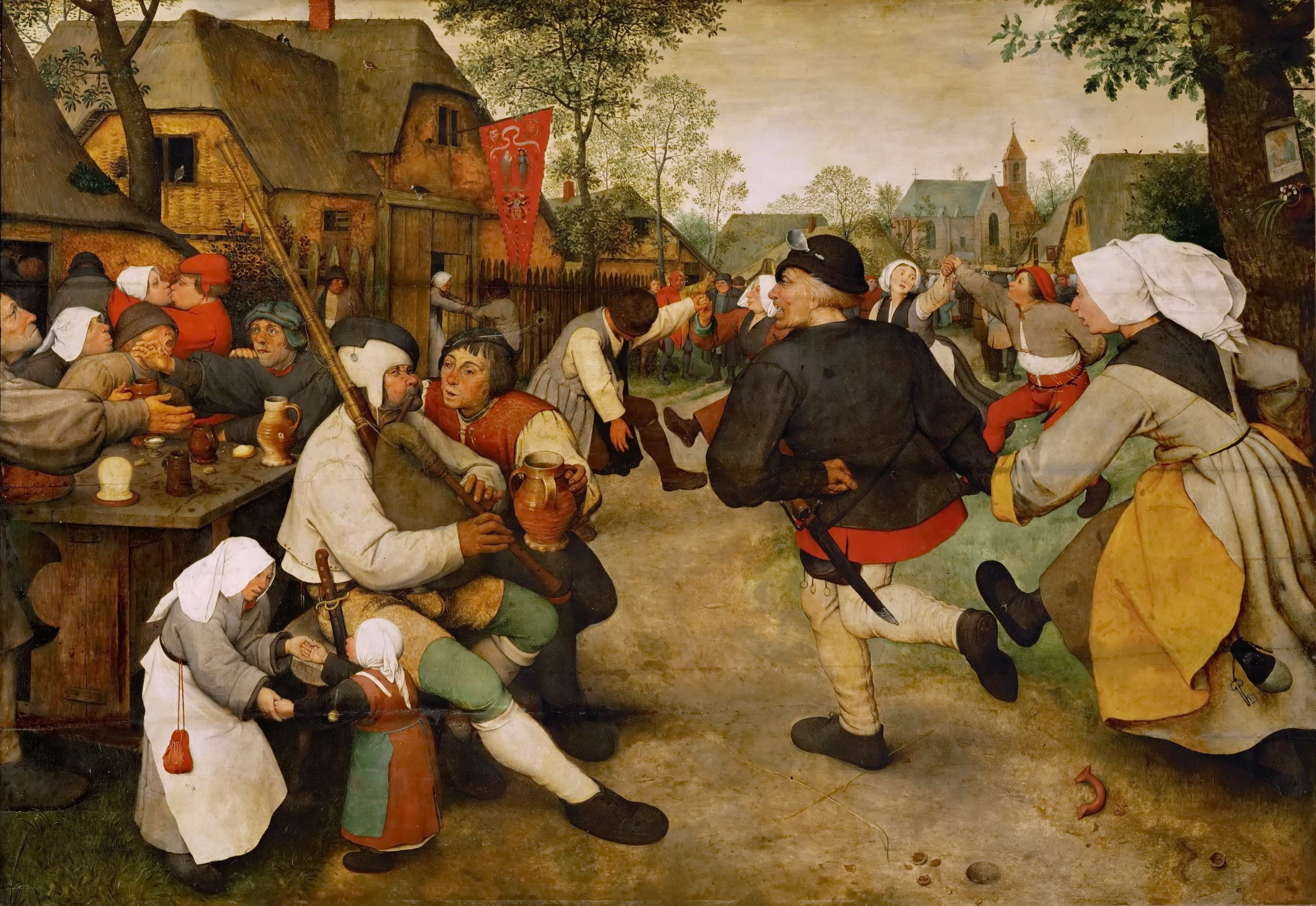 Πίτερ Μπρίγκελ ή Μπρέγκελ ο πρεσβύτερος. The Peasant Dance (1568), Kunsthistorisches Museum, Vienna, oil on oak panel