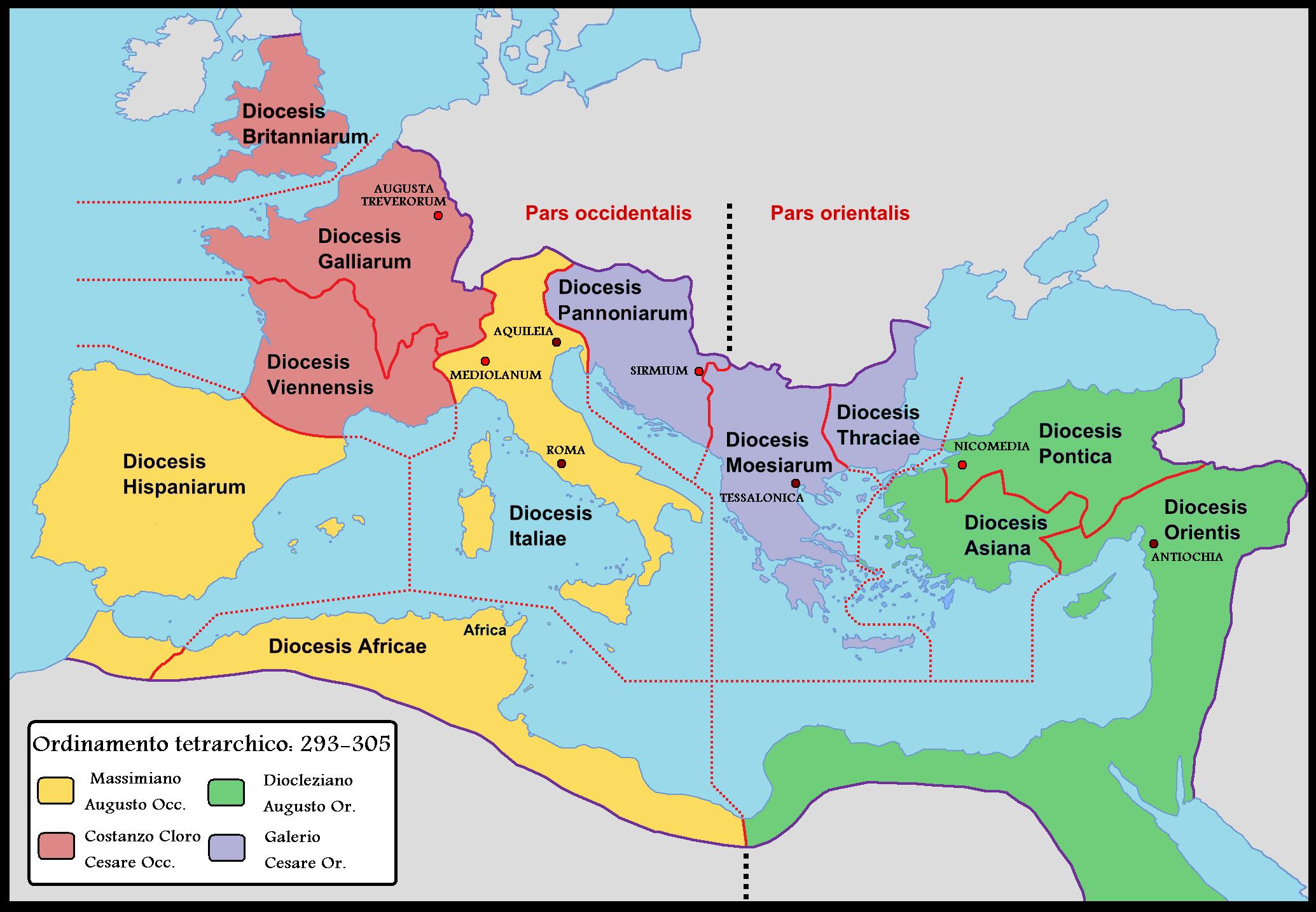 Χάρτης: Η ρωμαίική αυτοκρατορία τον 3ο αιώνα μ.Χ.