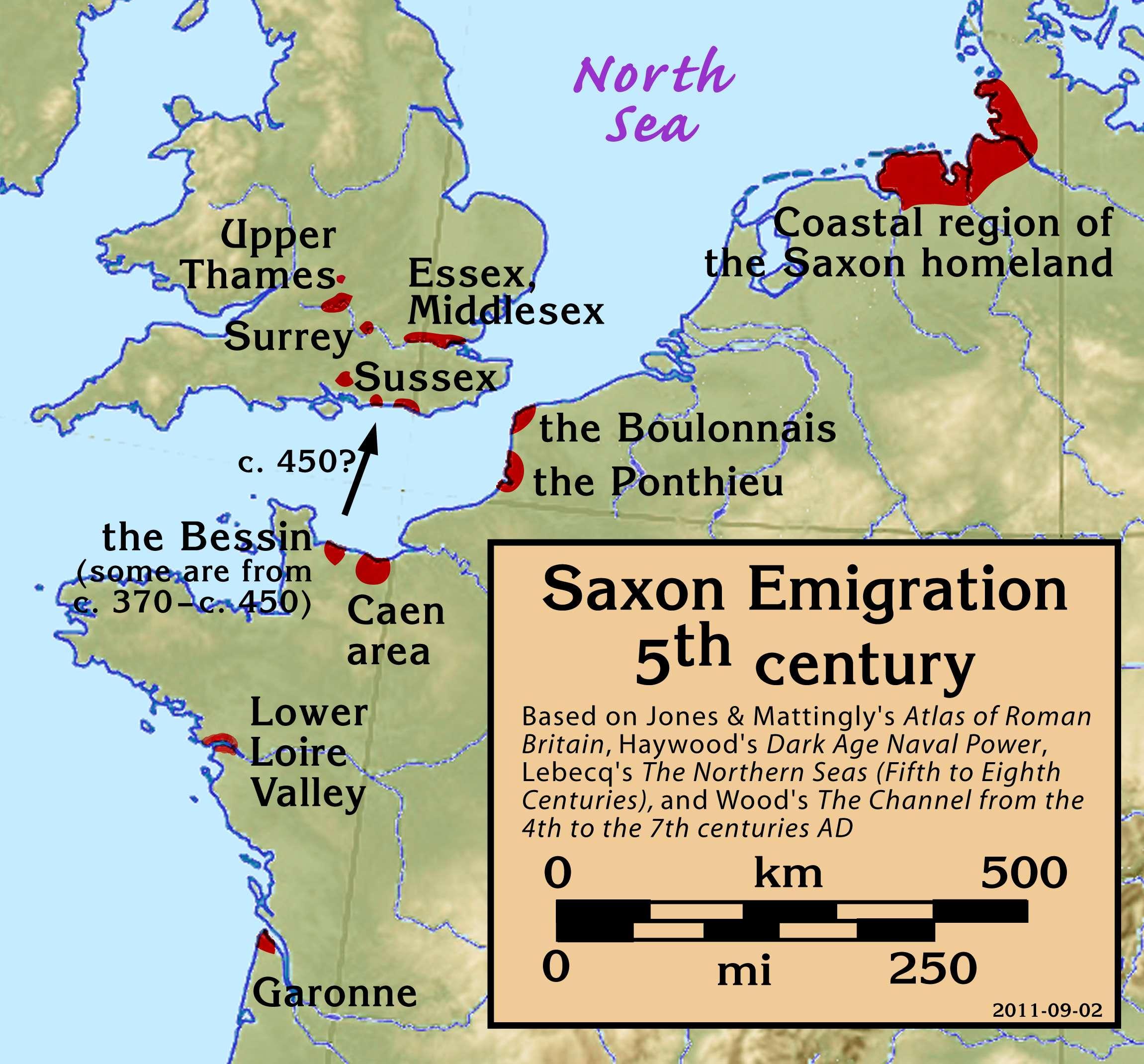 Σαξωνική μετανάστευση, 5ος αιώνας μ.Χ.