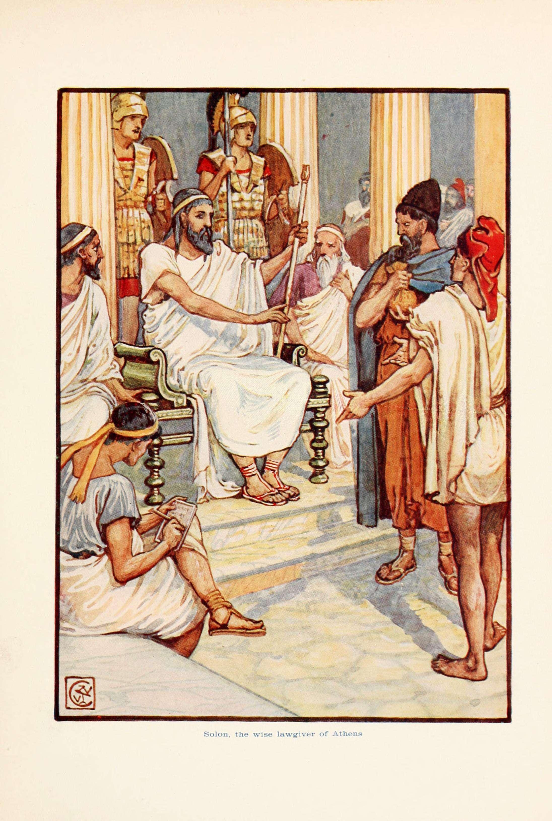 Ο Σόλωνας είχε μοναδικές αρετές, μετριοπάθεια, συνείδηση του δικαίου, καθώς και ειλικρινή αγάπη για την πατρίδα. Solon, the wise lawgiver of Athens.