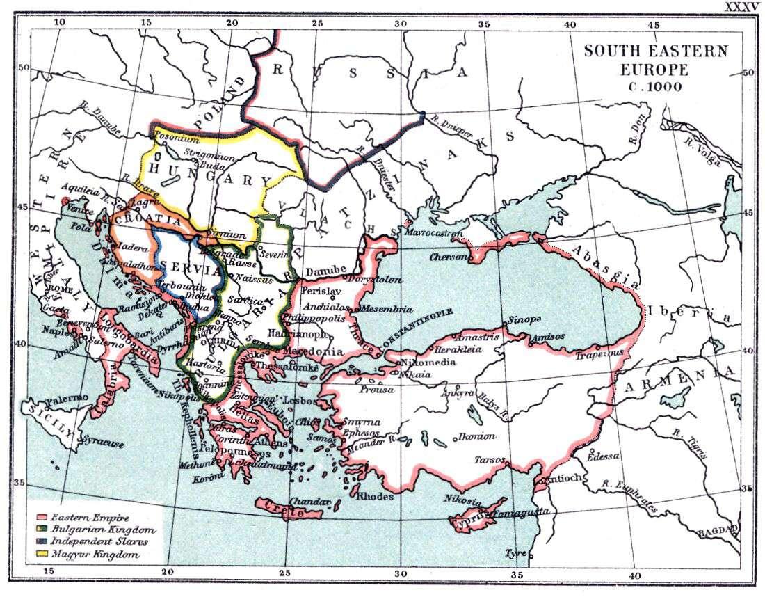 Η νοτιο-ανατολική Ευρώπη το 1000. Τα βυζαντινά εδάφη και η ανεξάρτητη Δυτική Βουλγαρία. Εν τω μεταξύ, η Ανατολική Βουλγαρία μένει στα χέρια των Βούλγαρων
