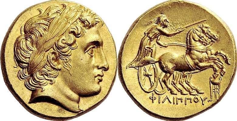 Νόμισμα τύπου Φιλίππειου στατήρα, 323-317 π.Χ., απεικονίζεται ο Απόλλωνας με τα χαρακτηριστικά του Αλεξάνδρου