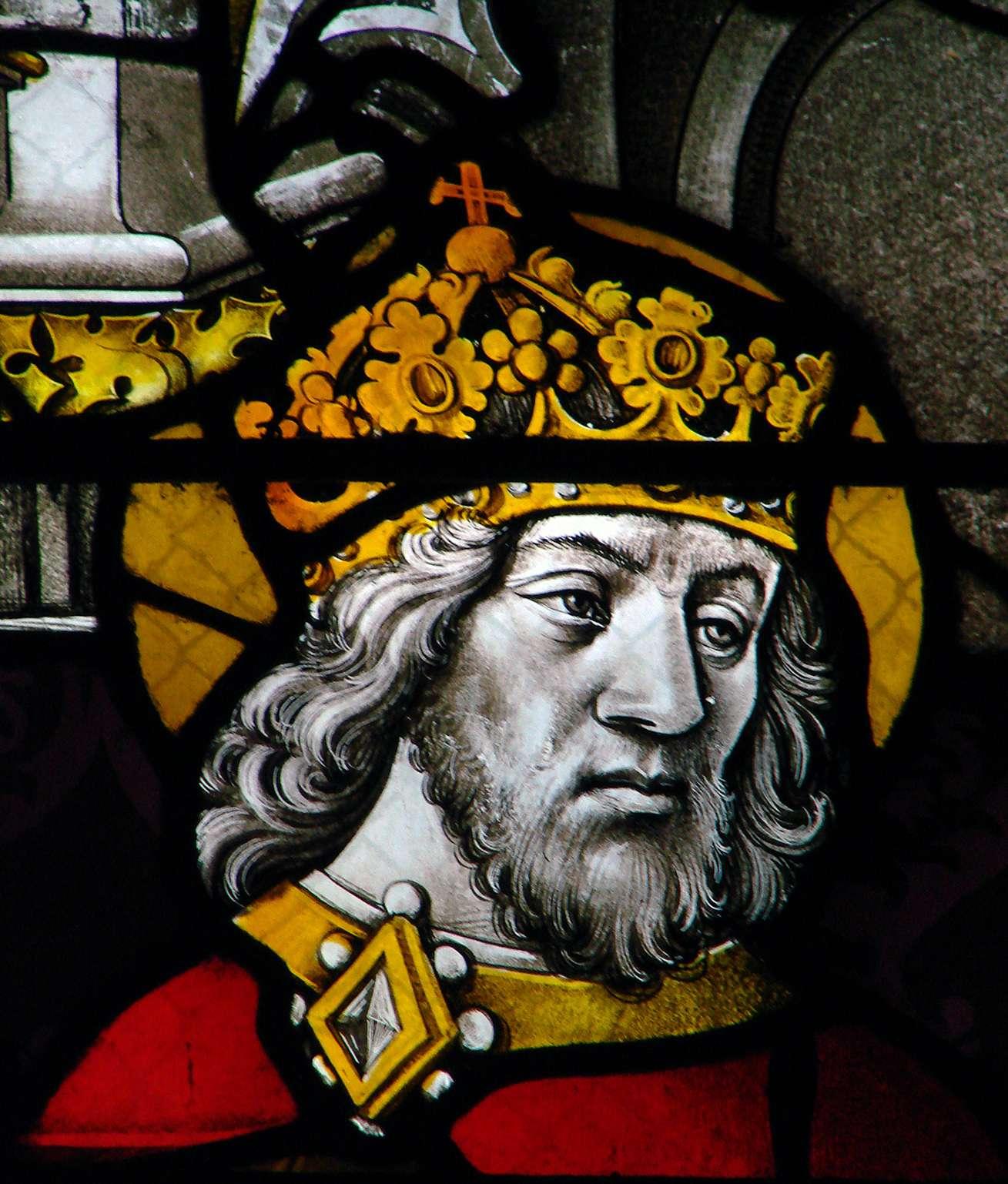 Βιτρώ με την προσωπογραφία του Καρλομάγνου (κυβ. 768–814), Καθεδρικός Ναός της Μουλέν, 15ος αιώνας.