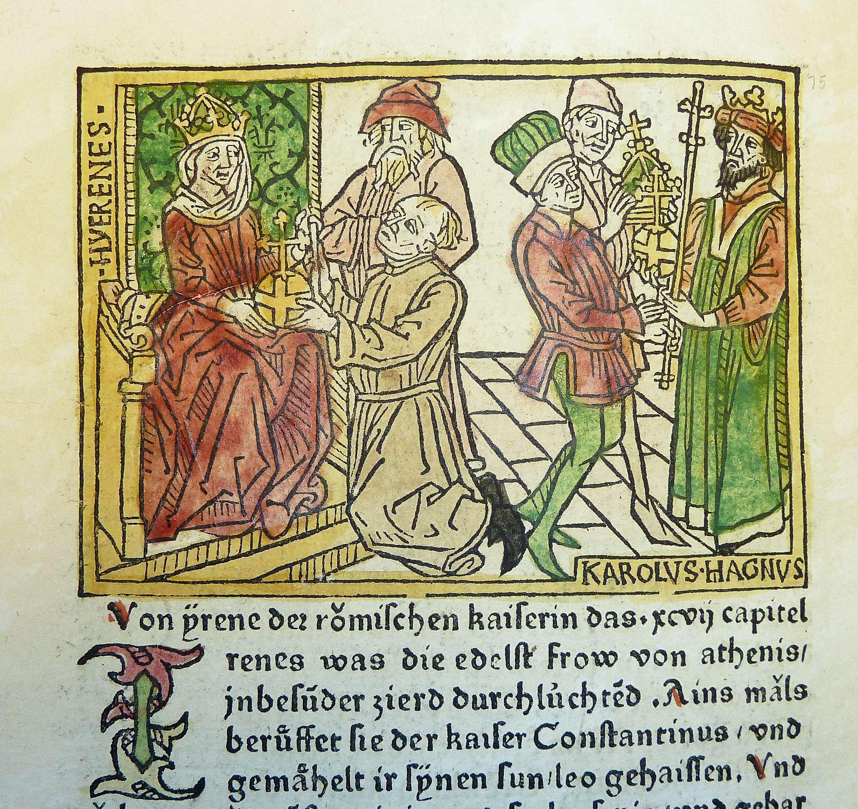 Η αυτοκράτειρα Ειρήνη η Αθηναία και ο αυτοκράτορας Καρλομάγνος ή Κάρολος ο Μέγας, μικρογραφία από γερμανική παλαίτυπη μετάφραση του βιβλίου του Βοκάκιου De mulieribus claris, περ. 1474.