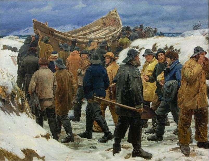 Μίκαελ Πέτερ Άνκερ (Michael Peter Ancher, 9 Ιουνίου 1849 – 19 Σεπτεμβρίου 1927). Redningsbåden køres gennem klitterne (= «Η σωσίβιος λέμβος μεταφέρεται δια των αμμόλοφων»), λεπτομέρεια, 1883