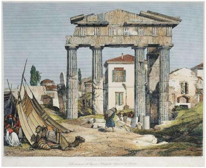 Η Πύλη της Αρχηγέτιδος Αθηνάς (Παζαρόπορτα) στη δυτική πλευρά της Ρωμαϊκής Αγοράς της Αθήνας. Χαλκογραφία του Ιταλού σχεδιαστή και ζωγράφου Andrea Gasparini, [Ρώμη, 1843].