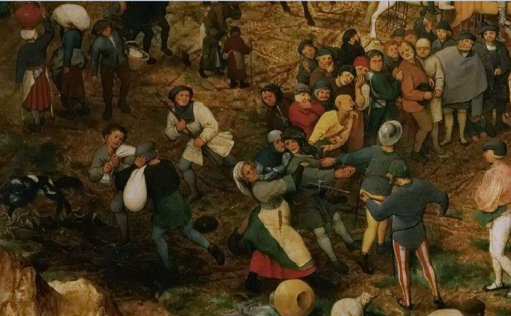 Η Πομπή στο Γολγοθά (λεπτομέρεια). Πίτερ Μπρίγκελ ή Μπρέγκελ ο πρεσβύτερος (φλαμανδικά: Pieter Bruegel, περ. 1525-1530 – Βρυξέλλες, 1569). The Procession to Calvary, 1564, Bruegel's second largest painting at 124 cm × 170 cm (49 in × 67 in)