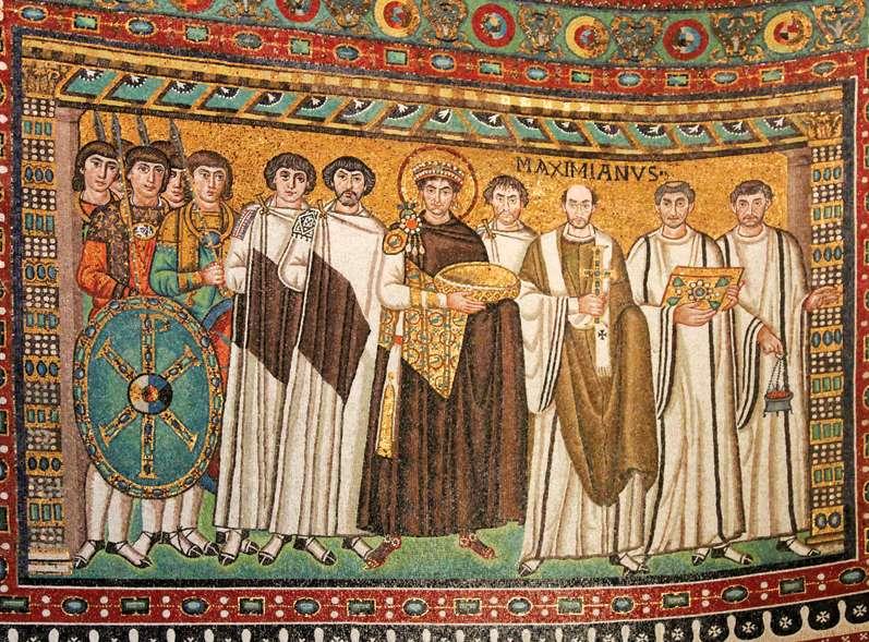 Το περίφημο ψηφιδωτό με τον Ιουστινιανό και τη συνοδεία του, σήμα κατατεθέν του Αγίου Βιτάλιου στη Ραβέννα (547).