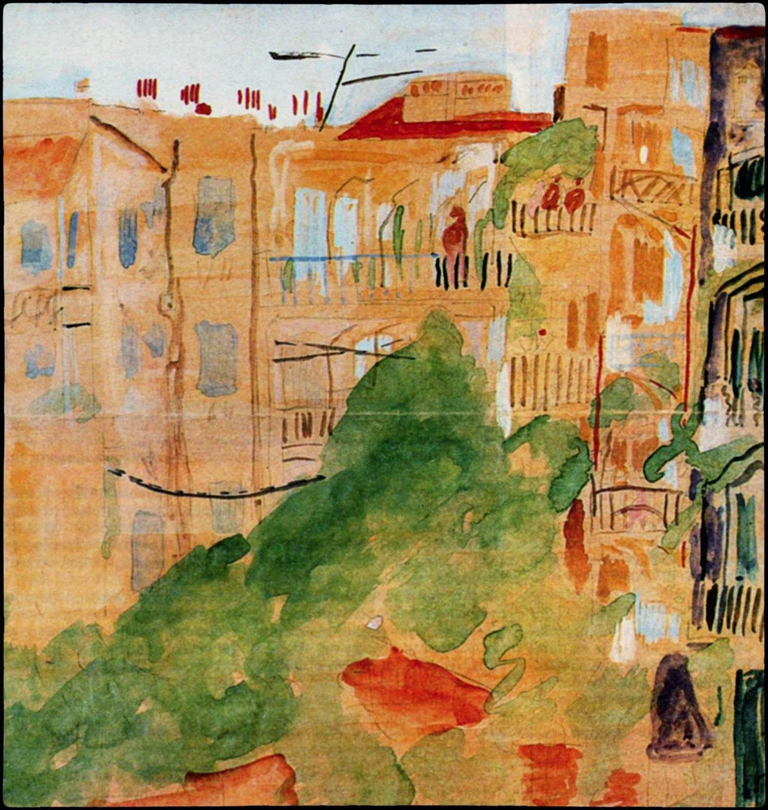 «Θεσσαλονίκη, όπισθεν κατοικιών». Ακουαρέλλα, 1949. Συλλογή Γ. Ν. Πεντζίκη (φωτ.: Φ. Σαρρή).