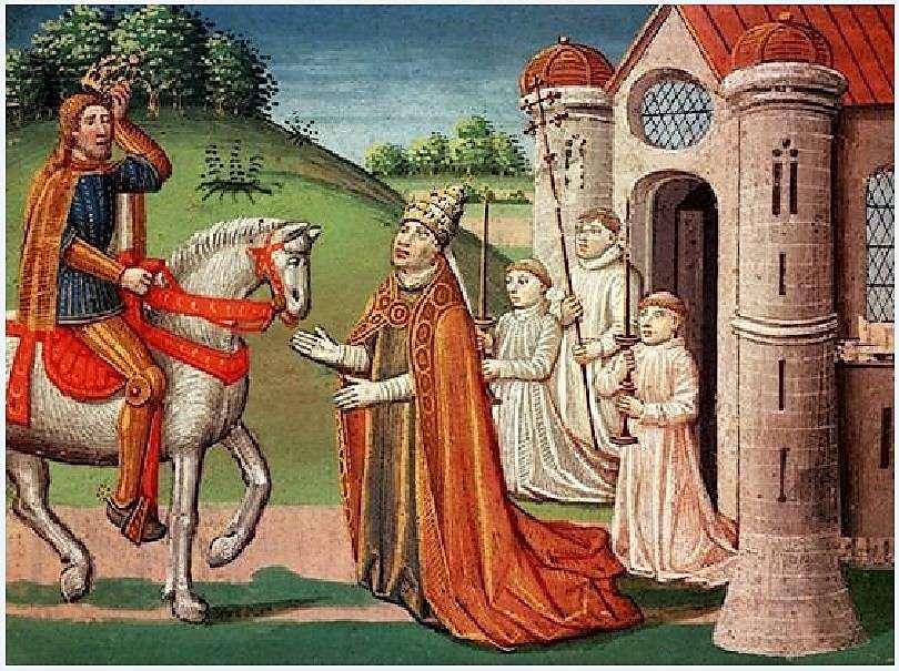 O Φράγκος βασιλιάς Καρλομάγνος ήταν αφοσιωμένος Καθολικός και διατηρούσε στενή σχέση με τον παπισμό σε όλη του τη ζωή. Το 772, όταν ο Πάπας Αδριανός Α΄ απειλήθηκε από εισβολείς, ο βασιλιάς έσπευσε στη Ρώμη για να του παράσχει βοήθεια. Εδώ φαίνεται ο πάπας να ζητά βοήθεια από τον Καρλομάγνο σε μια συνάντησή τους κοντά στη Ρώμη.