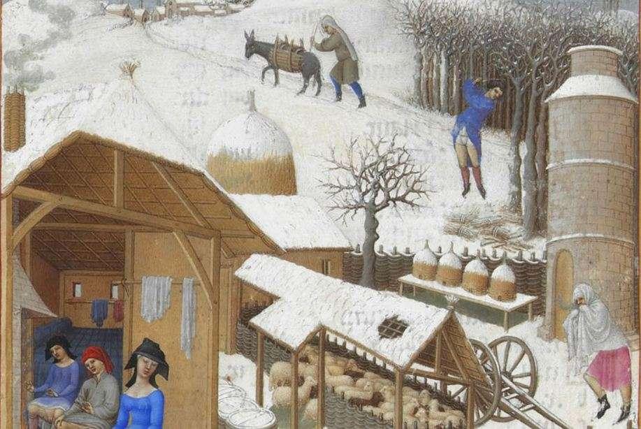 Οι Πολύ Πλούσιες Ώρες του δούκα ντε Μπερρύ : Φεβρουάριος, μικρογραφία, 1411-16, Chantilly, Μουσείο Κοντέ