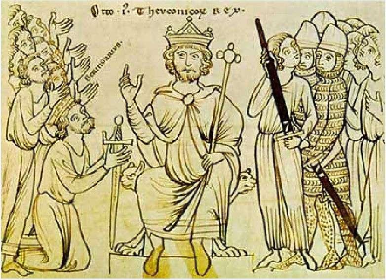 Χειρόγραφο έγγραφο (1200) που εμφανίζει τον αυτοκράτορα Όθωνα Α΄ να δέχεται την παραίτηση του Βερεγγάριου του Ιρβέα