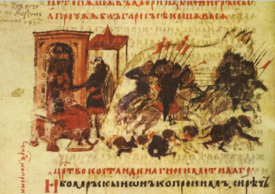 Η δεύτερη αραβική πολιορκία της Κωνσταντινούπολης, όπως απεικονίζεται στο βουλγαρικό αντίτυπο του Χρονικού του Κωνσταντίνου Μανασσή (14ος αιώνας).