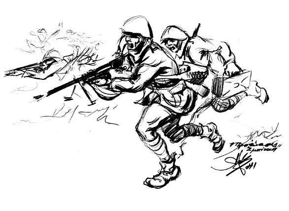 Αλέξανδρος Αλεξανδράκης. Το σκίτσο αυτό αποτέλεσε τη βάση του γνωστού πίνακα με τον τίτλο Προέλασις