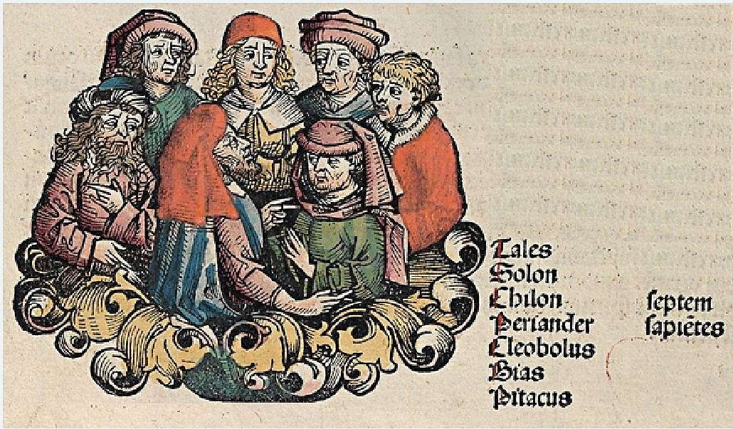 Οι επτά σοφοί της αρχαίας Ελλάδας στο χρονικό της Νυρεμβέργης. The Seven Sages, depicted in the Nuremberg Chronicle.