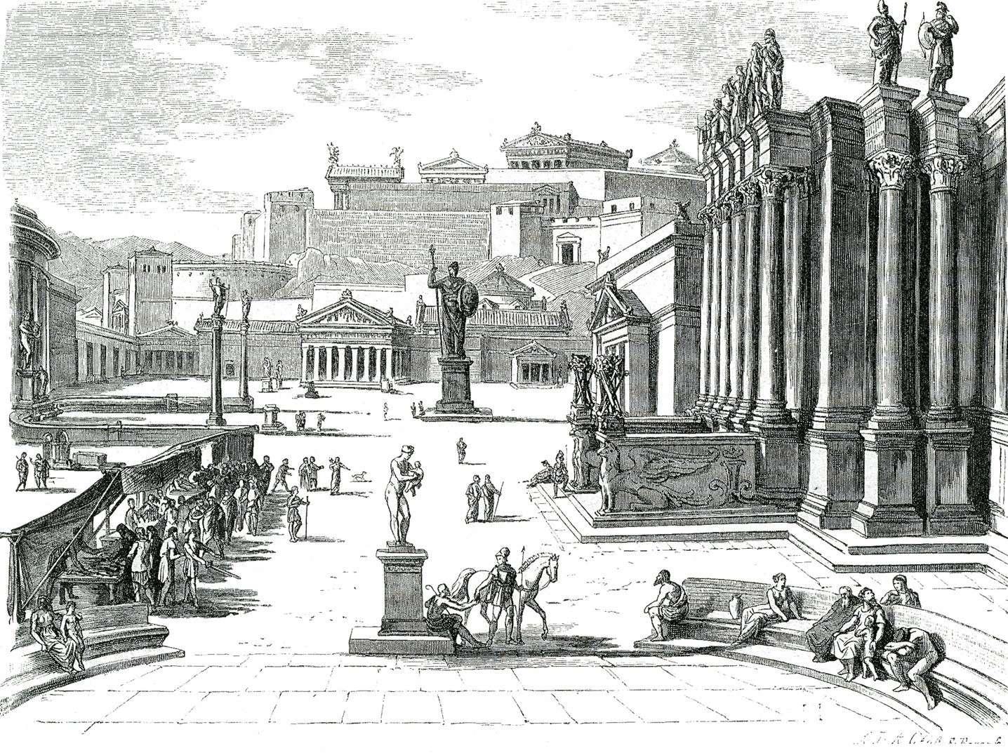 Απεικόνιση της αγοράς της αρχαίας Σπάρτης, 19ος αιώνας