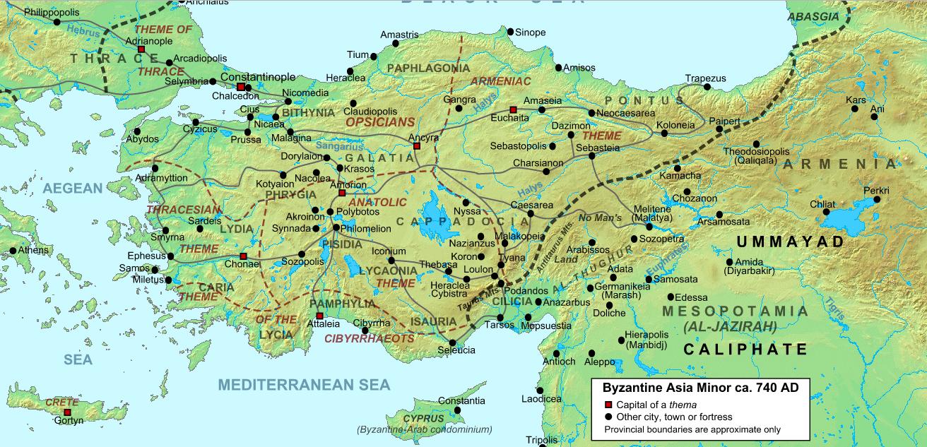 Χάρτης της Μικράς Ασίας και της Θράκης περί το 740