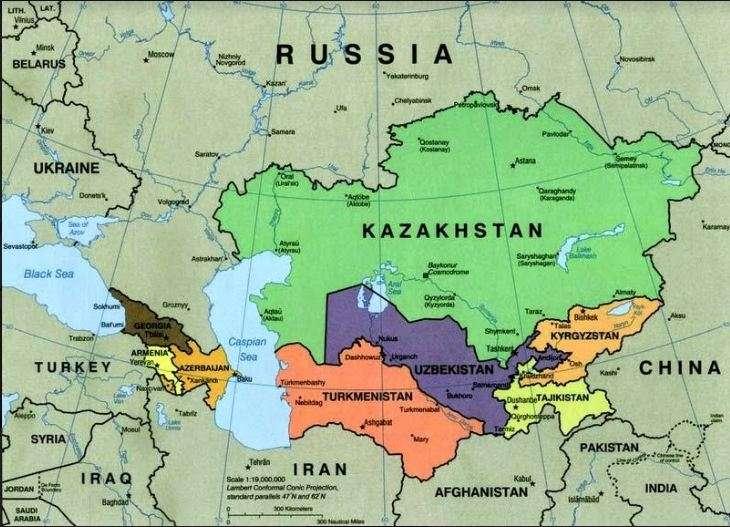 Χάρτης των χωρών της κεντρικής Ασίας