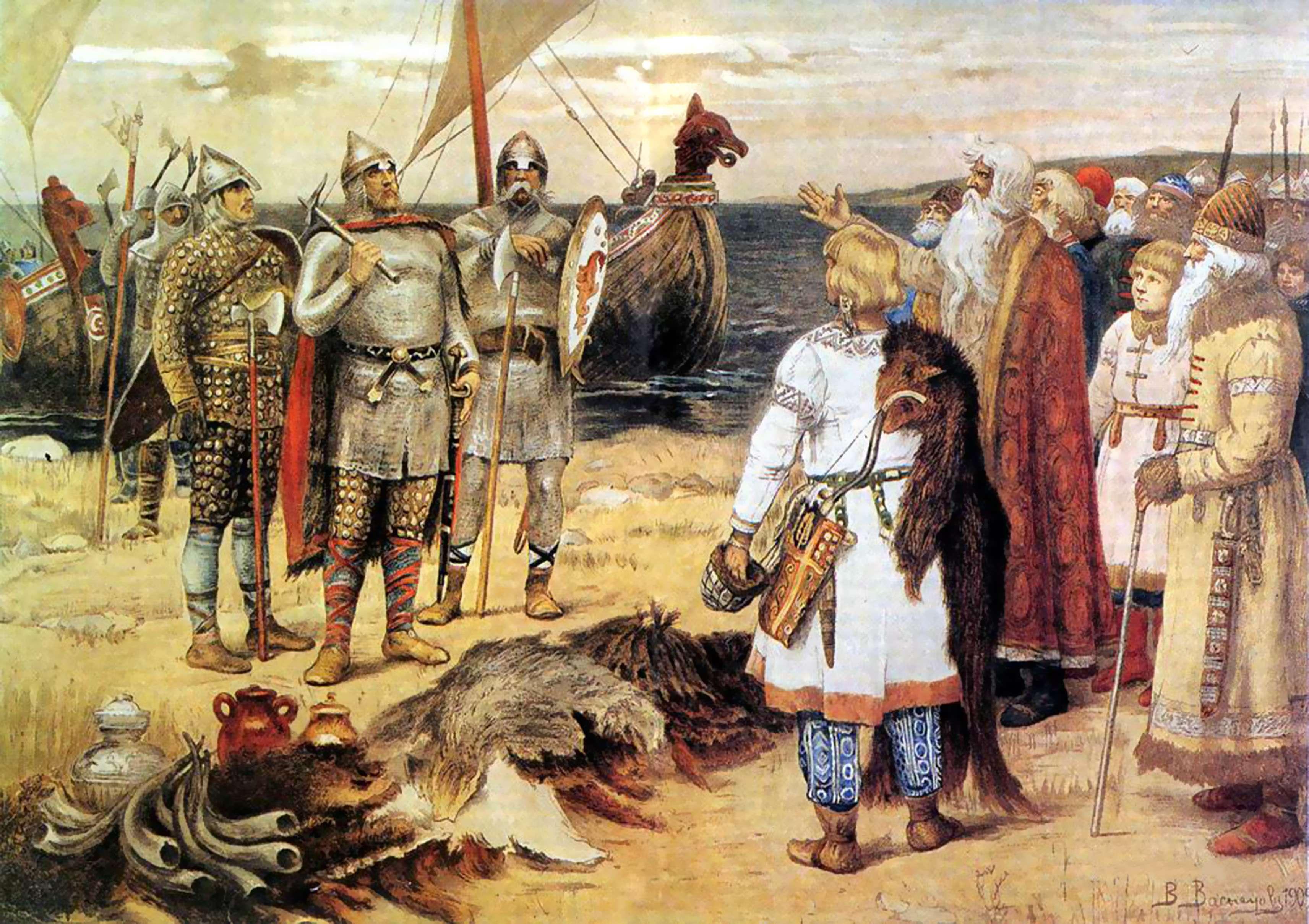 Η Πρόσκληση των Βαράγγων του Βίκτορ Βασνετσόφ: Ο Ρούρικ και οι αδελφοί του Σίνεους και Τρούβορ φθάνουν στις χώρες των Σλάβων του Νόβγκοροντ.