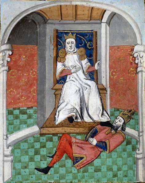 Ο Αλπ Αρσλάν ταπεινώνει των αυτοκράτορα Ρωμανό μετά τη Μάχη του Ματζικέρτ. Εικόνα από το έργο του Βοκάκιου De Casibus Virorum Illustrium.
