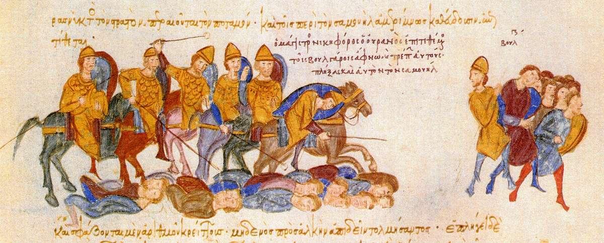 """Ο Νικηφόρος Ουρανός εξοντώνει τους Βουλγάρους. Μικρογραφία στο χειρόγραφο «Σκυλίτζης της Μαδρίτης». Nikephoros Uranus exterminates the Bulgarians. Thumbnail in the manuscript """"Scilitza of Madrid""""."""