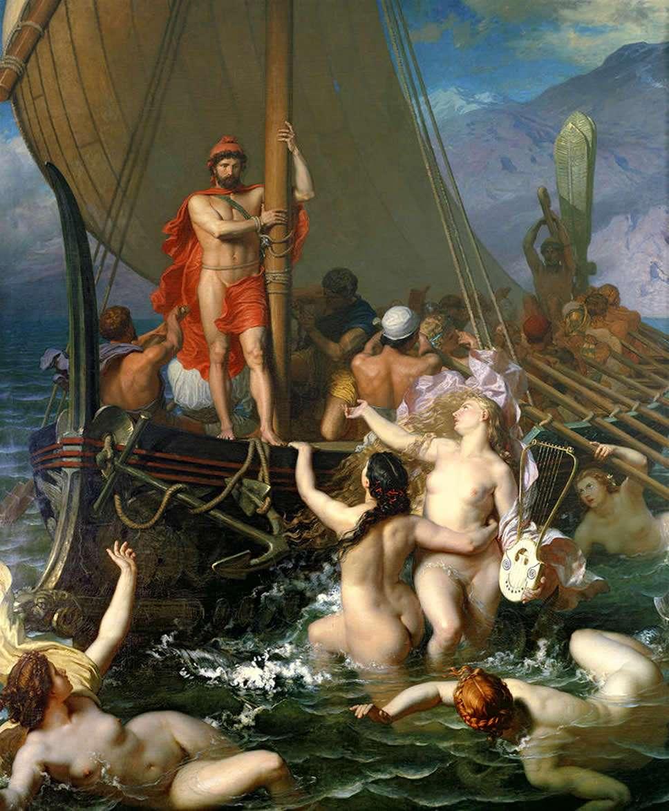 Ο Οδυσσέας και οι Σειρήνες, πίνακας του Léon Belly.