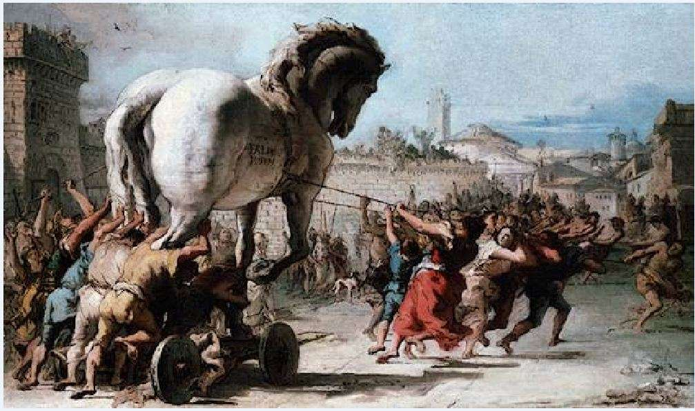 Οι Τρώες μεταφέρουν τον Δούρειο Ίππο εντός των τειχών. Πίνακας του 17ου αιώνα