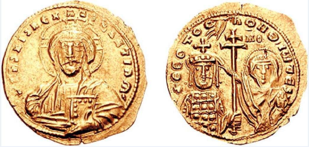 Νόμισμα που απεικονίζει τον Ιωάννη Τσιμισκή να στέφεται αυτοκράτορας από την Παρθένο Μαρία