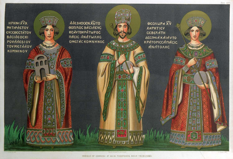 Ο Αλέξιος Γ', αριστερά η μητέρα του Ειρήνη Παλαιολογίνα και δεξιά η σύζυγός του Θεοδώρα Καντακουζηνή. Αντίγραφο τοιχογραφίας από την εκκλησία της Αγίας Θεοτόκου της Τραπεζούντας του 19ου αιώνα.