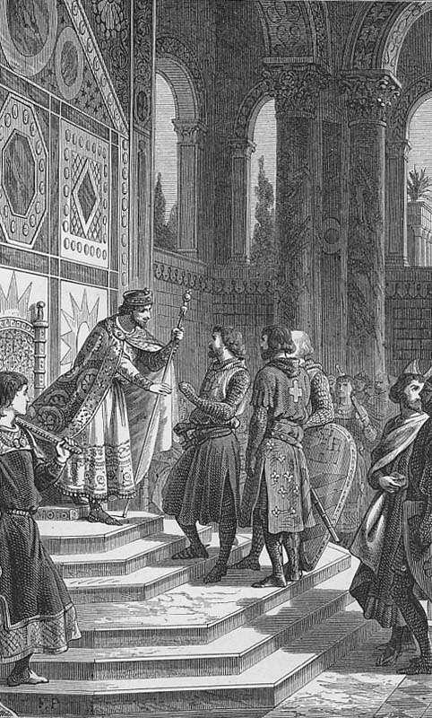 Ο Γοδεφρείδος του Μπουιγιόν και οι άλλοι βαρώνοι της Πρώτης Σταυροφορίας στο αυτοκρατορικό παλάτι του Αλέξιου Κομνηνού.