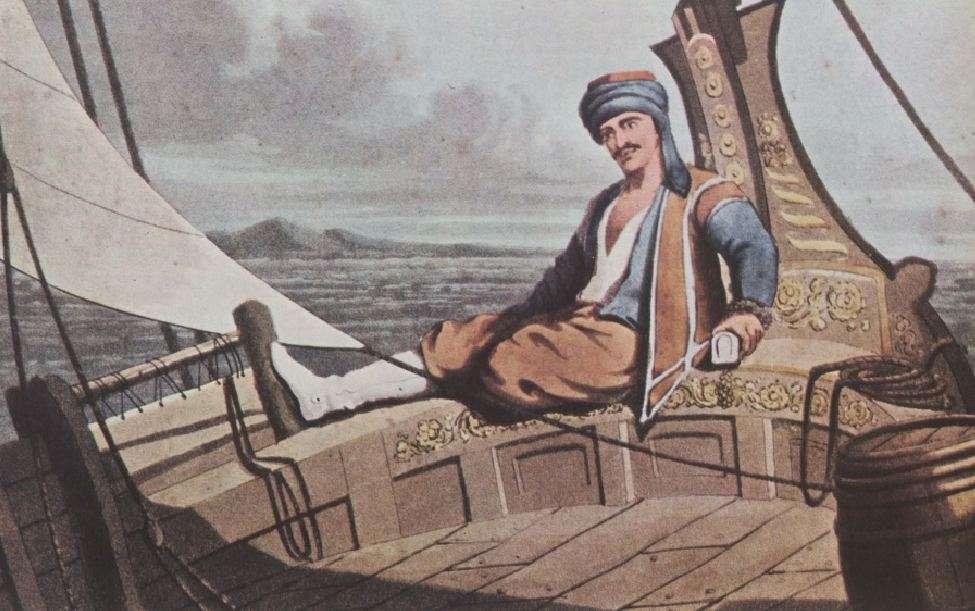 Έλληνας καπετάνιος σε καράβι εμπορικό, γύρω στα 1818. Μύκονος, Οικία Β. Κυριαζόπουλου.