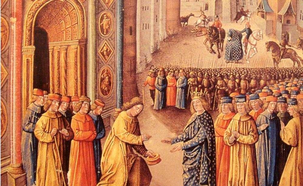Ο Ραϋμόνδος του Πουατιέ δέχεται τον βασιλιά της Γαλλίας Λουδοβίκο Ζ´ στην Αντιόχεια - μικρογραφία 15ου αιώνα.