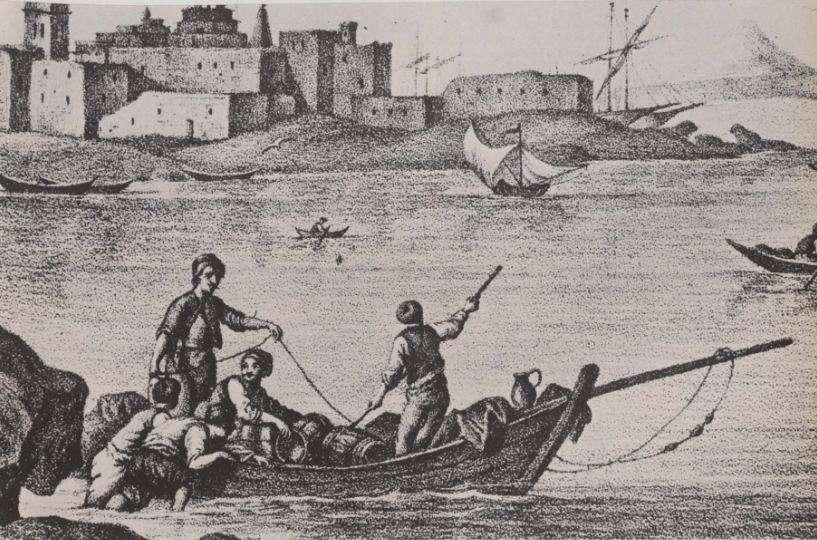 Βάρκα φορτωμένη στο λιμάνι της Τήνου, χαλκογραφία της εποχής.