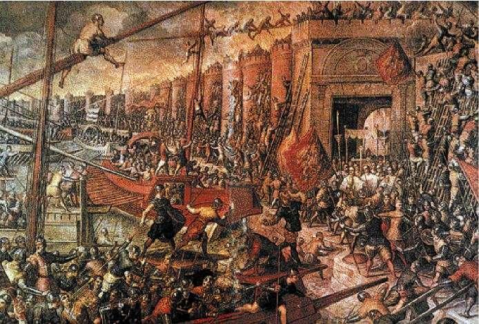 H πρώτη άλωση της Κωνσταντινούπολης. Οι Βενετοί χρησιμοποίησαν τα κατάρτια των πλοίων τους ως γέφυρα για να μπορέσει να μπει ο στρατός στην Πόλη πηδώντας πάνω από τα τείχη (Ε. Hallam, ed., Chronicles of the Crusades, 218-19)