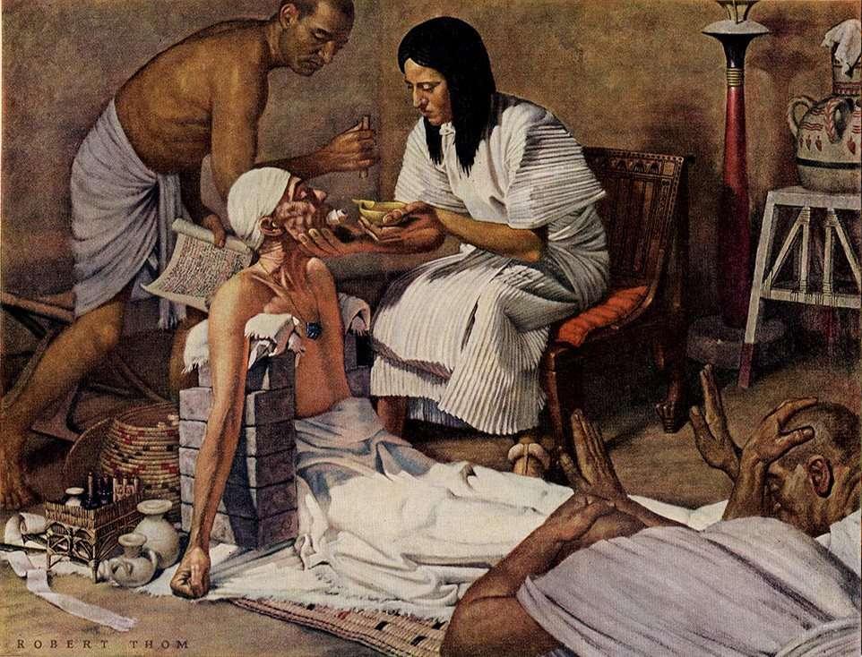 Πίνακας του Robert Thom· ιατρική στην αρχαία Αίγυπτο. Robert Thom's painting; medicine in ancient Egypt.